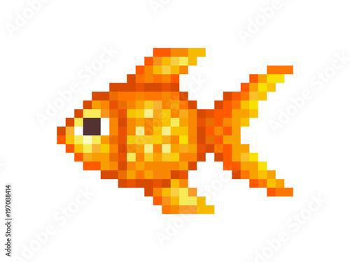 Goldfish Pixel Art Symbol Isolated On White Background Pet Animal