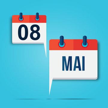calendrier bulle : 8 mai (bleu ciel)