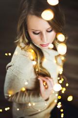 Chrismas Portrait and Christmas Lights