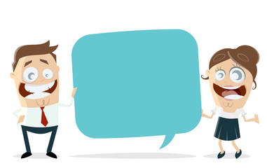 happy business team with speech bubble