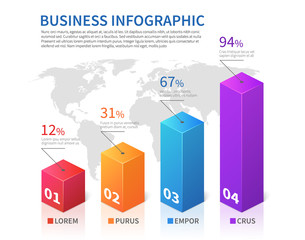 Abstract infographic 3d bar finance with world map vector chart
