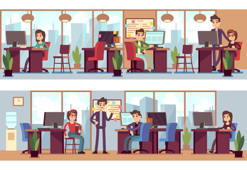 Business employees, coworkers in modern office interior vector illustration