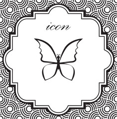 Vector icon butterfly on a geometric background