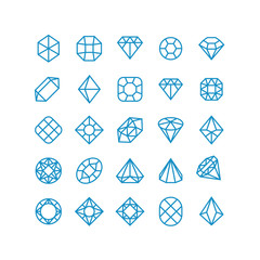 Diamond vector line icons. Woman brilliant jewelry pictograms. Wealth vector symbols