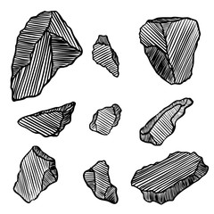 Crystals, gems rocks and stones set. Earth magical sacred elements. Collection set of sketchy minerals and hand drawn crystal stones and rocks.  Vector.