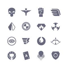Superheroes vector icons. Super power superhero heroic symbols