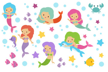 Pretty swimming mermaids with underwater elements. Sea princess girls cartoon characters