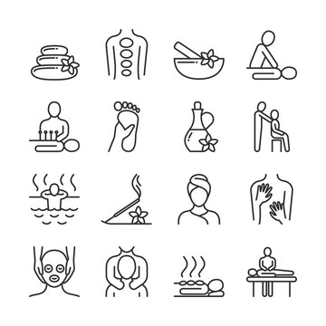 Relaxing massage and organic spa line pictograms. Hand therapy vector icons