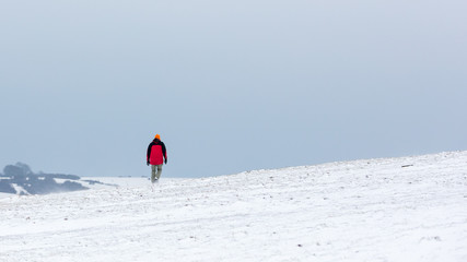 Man in Red Jacket in Distance Walking Away From Camera Over Snowy Ground