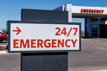Red Emergency Entrance Sign for a Local Hospital III