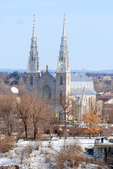 Cathedrale Notre Dame in winter in downtown Ottawa, Ontario, Canada.