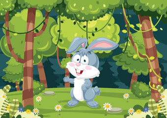 Vector Illustration Of Cartoon Rabbit