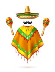 Vector sombrero mexican hat mustache cinco de mayo