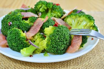 Sauteed broccoli salad with bacon and garlic
