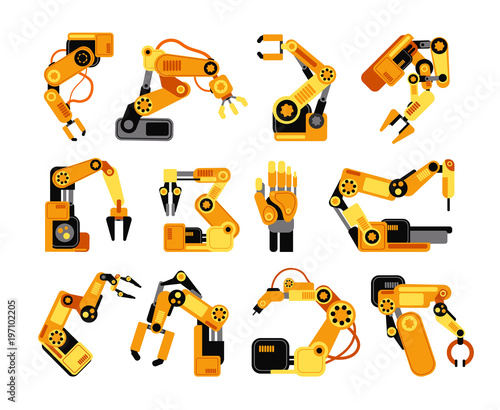 Factory robot arms manufacturing industrial equipment vector set