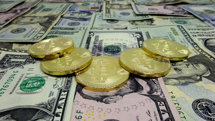 Bitcoin and Dollar Bills. Photo Image Composition