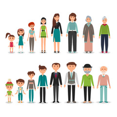 Process of aging in vector depicting men and women in particular period of life, from the childhood to the old age. Children, teenager, adult, old man and woman.