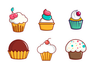 Cupcake icon set, cartoon style