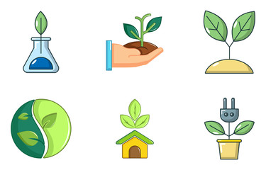 Plant icon set, cartoon style
