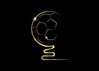 golden trophy soccer ball icon, vector isolated or black background