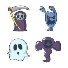 Halloween costume icon set, cartoon style
