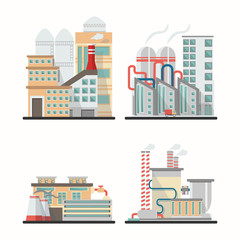 Set of industry buildings in vector. Urban Factory Landscape manufactory of power electricity
