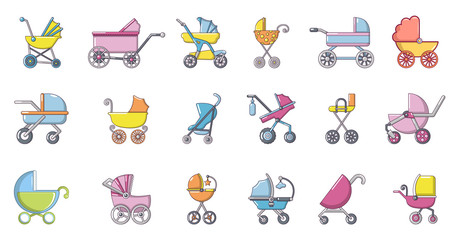Baby carriage icon set, cartoon style