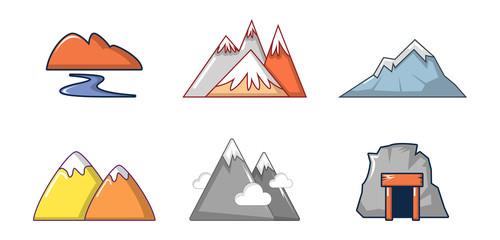 Mountains icon set, cartoon style