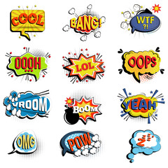 Comic speech bubbles. Onomatopoeic expressions: Lol and cool, bang and WTF, OOOH and OOPS, Vroom and yeah, boom and pow