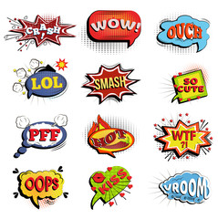 Comic speech bubbles. Onomatopoeic expressions: Lol and crash, wow and ouch, smash and cute, Vroom and kiss, oops and hot