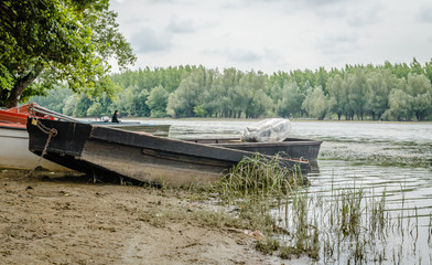Wooden boat moored on the lake shore