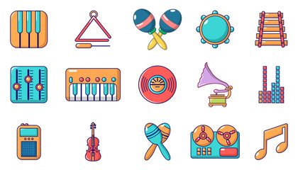 Musical instrument icon set, cartoon style