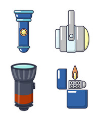 Light source icon set, cartoon style