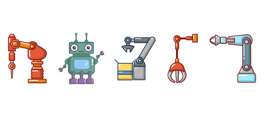 Robot icon set, cartoon style