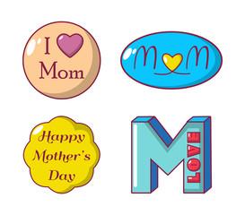 Mom emblem icon set, cartoon style