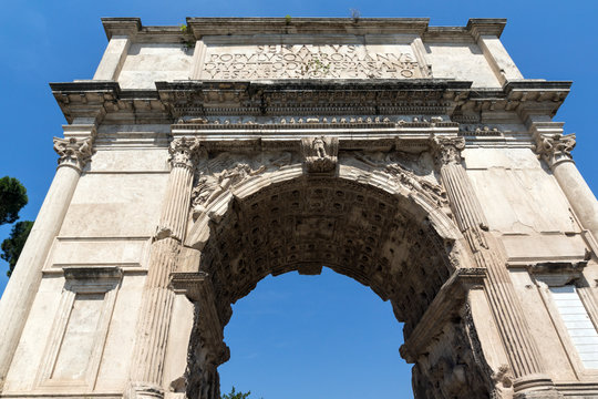 Arch of Titus in Roman Forum in city of Rome, Italy