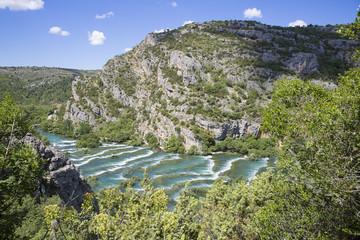 aerial view of waterfall at  Krka national park