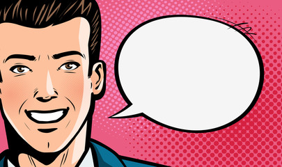 Happy young man in business suit or businessman says. Pop art retro comic style. Cartoon vector illustration