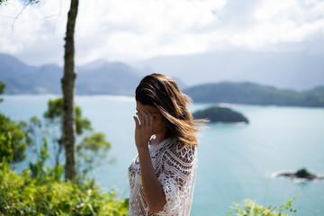 Girl in a viewpoint in Picinguaba, Rio de Janeiro, Brazil