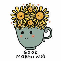 Sunflower in cup and good morning word vector illustration doodle style
