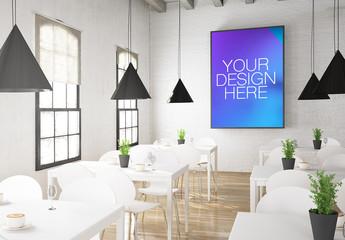 Poster Mockup in 3D Restaurant Rendering