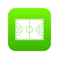 Soccer field icon digital green