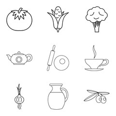 Basic vegan menu icons set, simple style