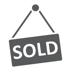 Sold glyph icon, real estate and home, sale sign vector graphics, a solid pattern on a white background, eps 10.