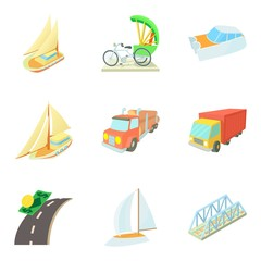 Means of transportation icons set, cartoon style
