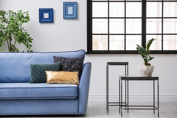 Living room interior with comfortable sofa