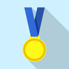 Champion medal icon, flat style