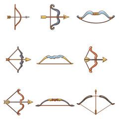 Bow arrow weapon icons set, cartoon style