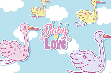 Baby love card with cute cartoons