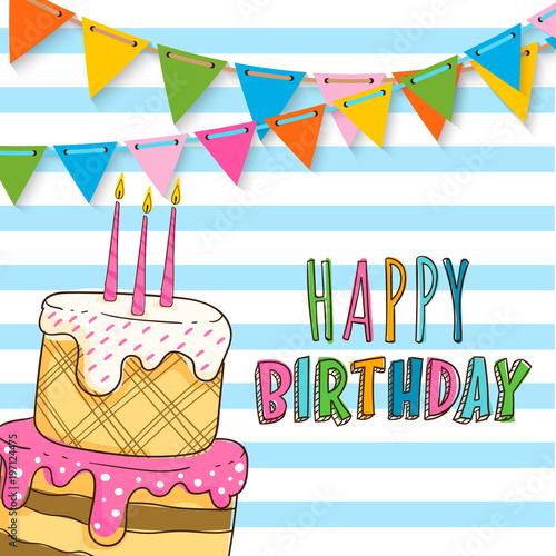 Happy Birthday Invitation Card Design Obrazów Stockowych I